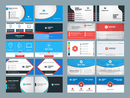 identification card: Set of Modern Creative and Clean Business Card Design Print Templates. Flat Style Vector Illustration