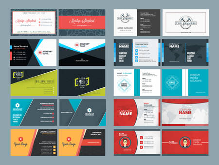 modern business: Set of Modern Creative and Clean Business Card Design Print Templates. Flat Style Vector Illustration