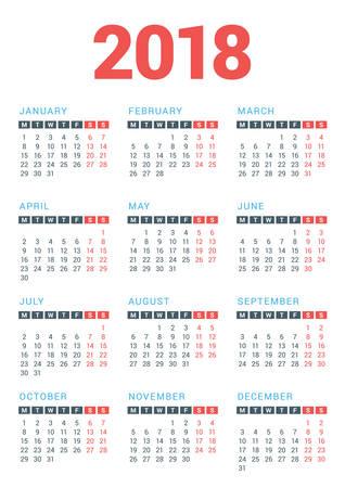 白い背景の上の 2018 年のカレンダーです。月曜始まり。ベクター デザイン印刷テンプレート