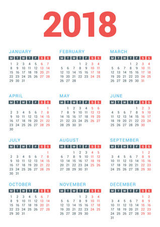 Calendar for 2018 Year on White Background. Week Starts Monday. Vector Design Print Template