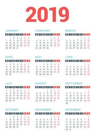 Kalender voor het jaar 2019 op witte achtergrond. Week start maandag. Vector ontwerpsjabloon afdrukken