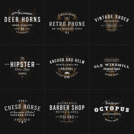 fashion shop: Set of Hipster Vintage Labels, Logotypes, Badges for Your Business. Horns, Retro Phone, Shoes, Anchor, Windmill, Barber, Chess. Vector Illustration on Dark Textured Background