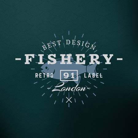retro badge: Fishery. Vintage Retro Design Elements for  Insignia, Badge, Label. Business Sign Template. Textured Background