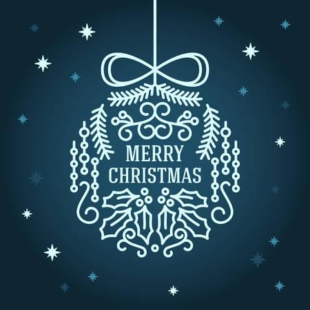 christmas postcard: Christmas Postcard Floral Decoration Background. Vector Illustration. Merry Christmas Greetings