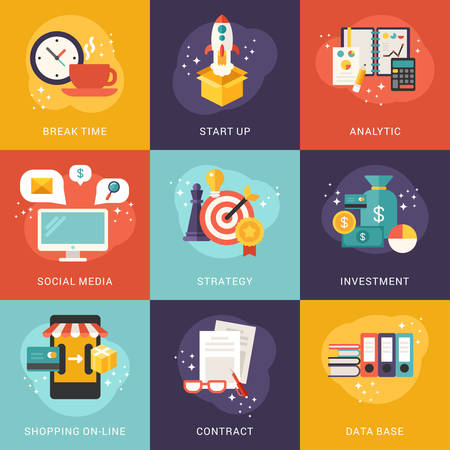 analytic: Set of Concept Flat Style Vector Business and Shopping Illustrations or Icons. Start Up, Analytic, Investment, Social Media, Data Base, Shopping Illustration