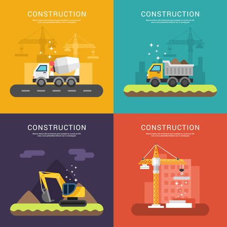 cement: Construction Concept. Crane, Cement Mixers, Dump Truck and Excavator. Set of Vector Illustrations in Flat Design Style for Web Banners or Promotional Materials