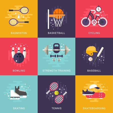 fuerza: Conjunto de planos Concepto del vector del estilo interior y exterior Ilustraciones del deporte. Badminton, Baloncesto, Ciclismo, Bolos, entrenamiento de fuerza, Béisbol, Patinaje, Tenis, Monopatín