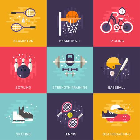Set of Concept Flat Style Vector Indoor and Outdoor Sport Illustrations. Badminton, Basketball, Cycling, Bowling, Strength Training, Baseball, Skating, Tennis, Skateboarding