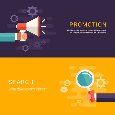 banners web: Flat Design Concept for Web Banners. Promotion and Search Illustration