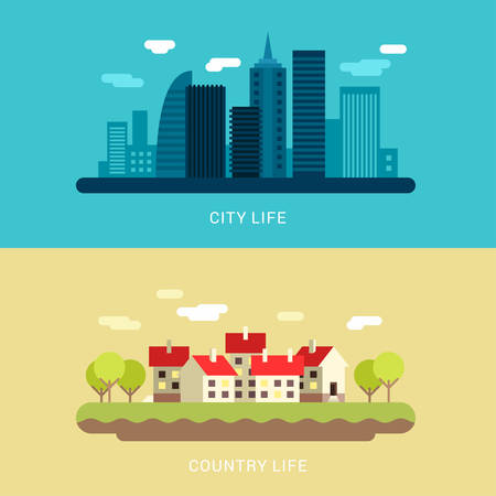 country life: City Life and Country Life. Flat Style Vector Conceptual Illustration for Web Banners or Promotional Materials Illustration