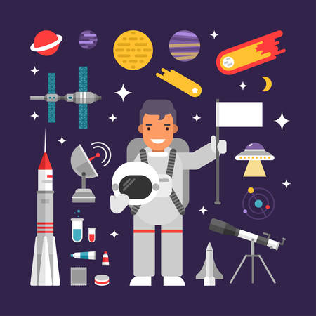 world receiver: Set of Vector Icons and Illustrations in Flat Design Style. Male Cartoon Character Astronaut Surrounded by Planets, Rockets and Stars Illustration