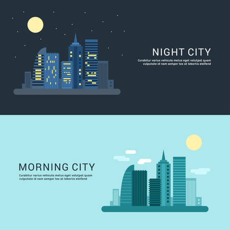 morning night: Night City and Morning City. Flat Style Vector Conceptual Illustration for Web Banners or Promotional Materials
