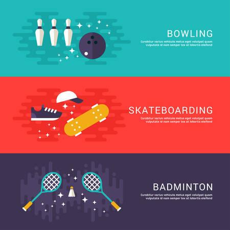 badminton racket: Set of Concept Flat Style Vector Sport Illustrations. Bowling, Skateboarding, Badminton. Web Banner Template Illustration