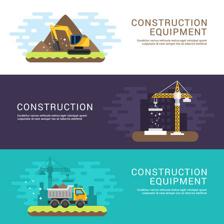 building site: Construction and Building Concept. Crane, Dump Truck and Excavator. Set of Flat Style Vector Conceptual Illustrations for Web Banners or Promotional Materials Illustration
