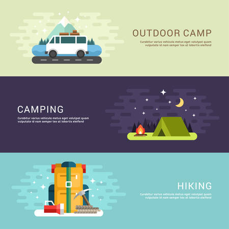 キャンプや概念をハイキングします。バン、テント、バックパック。フラット スタイル ベクトル概念イラスト Web バナー広告や販促のためのセット