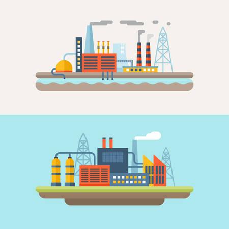 Edificios de la fábrica industrial. Conjunto de Plano Estilo Vector ilustraciones conceptuales para la web banners o materiales de promoción