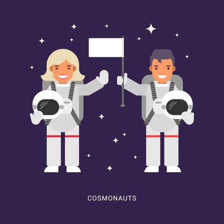2 つの宇宙飛行士。男性と女性の漫画の文字の宇宙飛行士。フラット スタイルのベクトル図