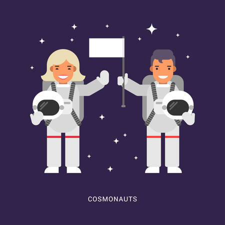 science icons: Two Cosmonauts. Male and Female Cartoon Characters Astronaut. Flat Style Vector Illustration