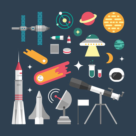 world receiver: Set of Vector Icons and Illustrations in Flat Design Style. Planets, Rockets, Stars Illustration