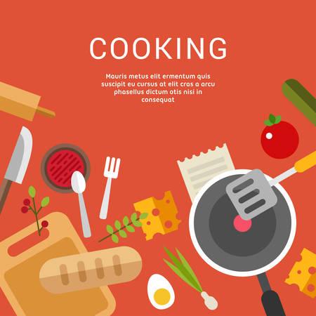 料理のコンセプトです。Web バナー広告や販促資料のフラットなデザイン スタイルのベクトル図  イラスト・ベクター素材