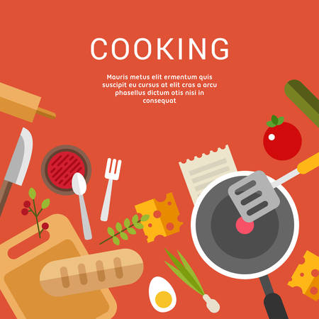 illustration food: Cooking Concept. Vector Illustration in Flat Design Style for Web Banners or Promotional Materials