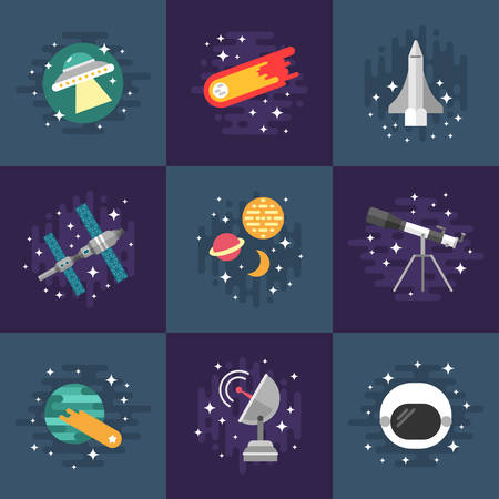 world receiver: Set of Vector Illustrations in Flat Design Style. Space Theme. Planets, Rockets, Stars, Comet