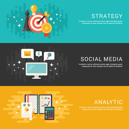 marketing team: Flat Design Concept. Set of Vector Illustrations for Web Banners. Strategy, Social Media, Analytics Illustration