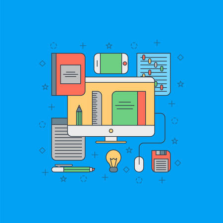Thin Line Flat Design Concept Illustration for Online Office Applications