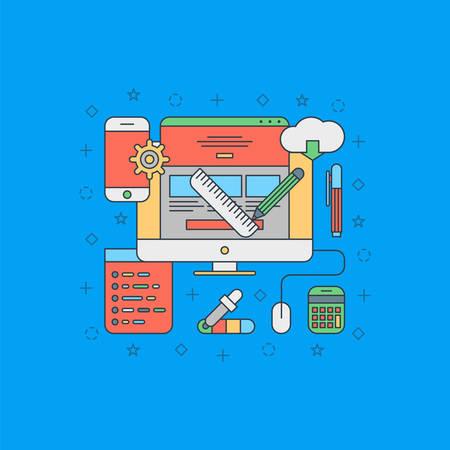 application software: Thin Line Flat Design Concept Illustration for Web Design Illustration
