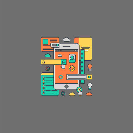 smartphone apps: Thin Line Flat Design Concept Illustration of Mobile Apps Development Process Illustration