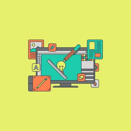web application: Thin Line Flat Design Concept Illustration for Graphic Digital Design Process Illustration