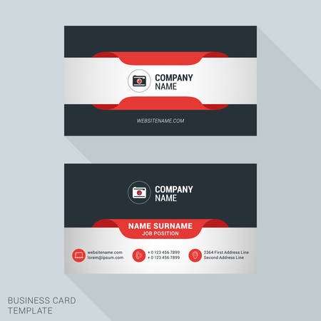 name template: Creative and Clean Business Card Vector Print Template. Flat Style Vector Illustration. Stationery Design Illustration