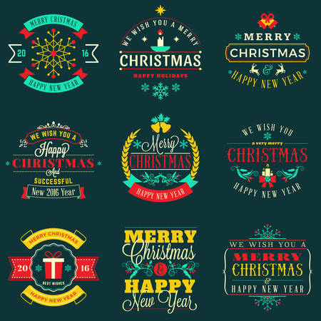 christmas candle: Set of Merry Christmas and Happy New Year Decorative Badges for Greetings Cards. Vector Illustration in Retro Color Theme