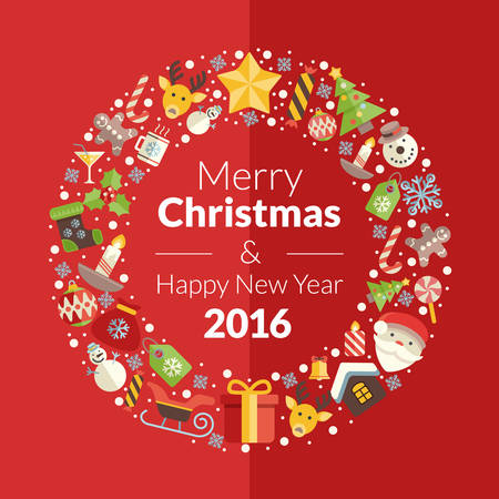 christmas postcard: Merry Christmas and Happy New Year. Flat Style Vector Illustration with Christmas Icons on Red Background for Greetings Cards