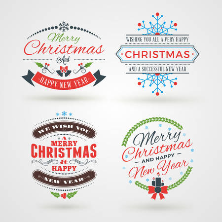 Set of Merry Christmas and Happy New Year Decorative Badges or Labels for Greetings Cards. Vector Illustration