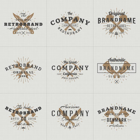 Set of Hipster Vintage Labels, Logotypes, Badges for Your Business. Knife, Axe, Hammer, Wrench. Vector Illustration on Dark Textured Background Illustration
