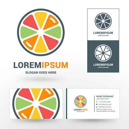eco slogan: Vector Logo Template. Fresh Orange, Lemon, Lime, Grapefruit Juice Concept Logo