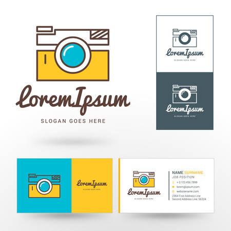 photographer: Vector Logo Template. Thin Line Vector Camera. Logo for Photographer or Studio