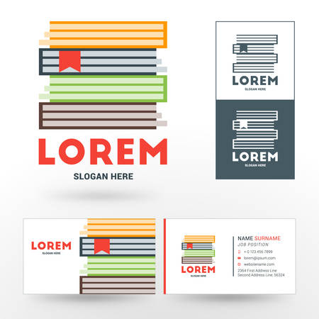 bookshop: Vector Logo Template. Stack of Books. Logo for Bookshop or Library