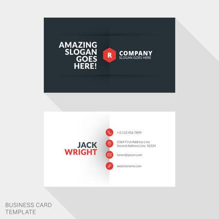 identification card: Creative Business Card Print Template. Flat Design Vector Illustration. Stationery Design Illustration