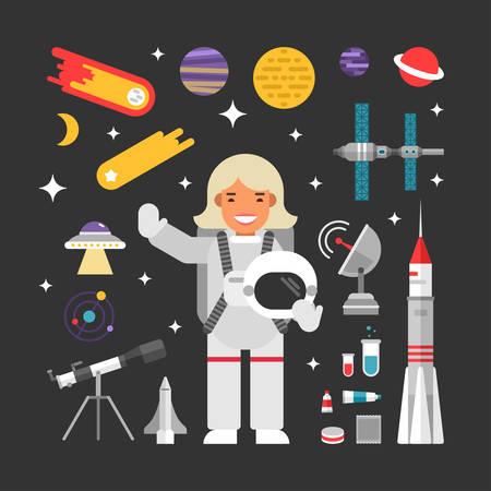 astronaut: Conjunto de vectores iconos e ilustraciones en Dise�o plana del estilo. Mujer personaje de dibujos animados astronauta rodeado de planetas, cohetes y Estrellas Vectores