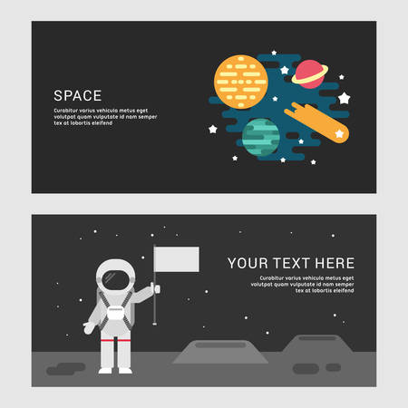 world receiver: Space and Moon Landing Concept. Set of Flat Style Vector Conceptual Illustrations for Web Banners or Promotional Materials Illustration