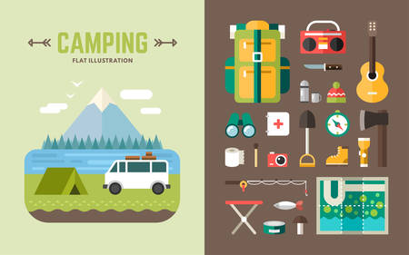 camping: Camping Concept. Set of Vector Illustrations and Icons in Flat Design Style for Web Banners or Promotional Materials