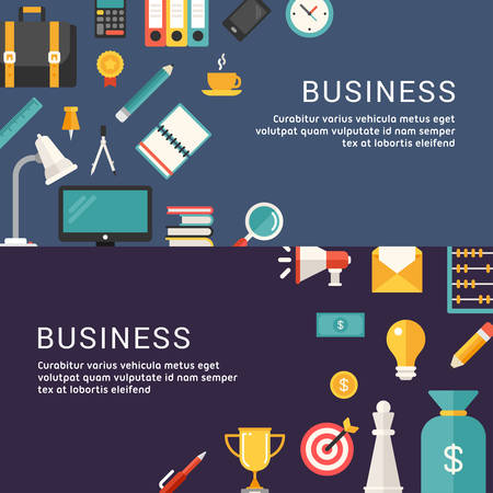 promotional: Business Concept. Vector Illustrations and Icons in Flat Design Style for Web Banners or Promotional Materials
