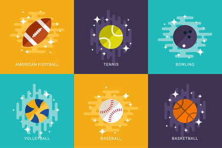 baseball cartoon: Set of Sport Balls. Flat Style Vector Illustration. American Football, Basketball, Volleyball, Tennis, Bowling, Baseball. Activities for Team Playing