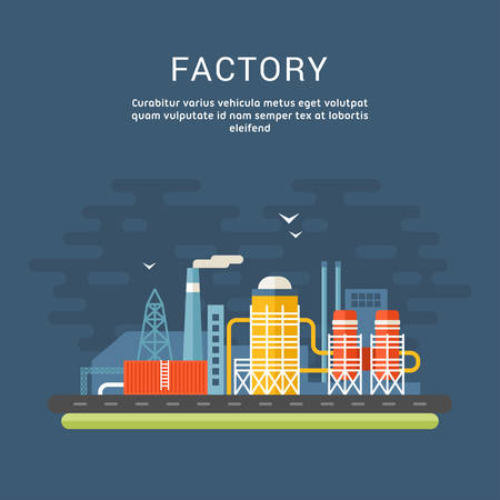 industrial buildings factory: Industrial Factory Buildings. Flat Style Vector Conceptual Illustrations for Web Banners or Promotional Materials