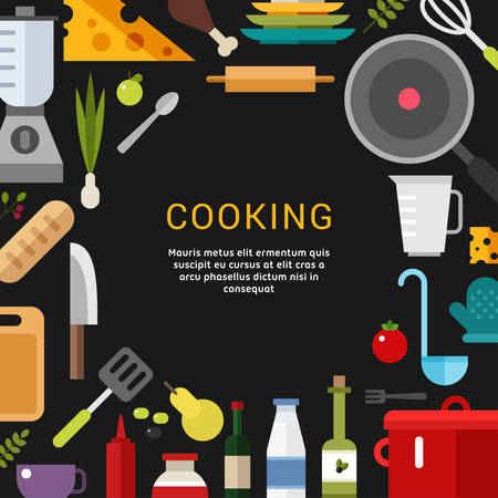 promotional: Cooking Concept. Vector Illustration in Flat Design Style for Web Banners or Promotional Materials