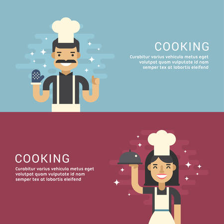 promotional: People Profession Concept. Cooking. Male and Female Cartoon Characters Chief. Flat Design Concepts for Web Banners and Promotional Materials Illustration