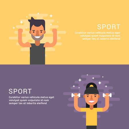 promotional: People Sport Concept. Fitness. Male and Female Cartoon Characters. Flat Design Concepts for Web Banners and Promotional Materials Illustration
