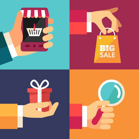 Hand with Smartphone, Hand with Shoping Bag, Hand with Gift, Hand with Magnifying Glass. Set of Flat Design Vector Illustrations  イラスト・ベクター素材